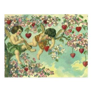 Vintage Valentines Day Victorian Cupids Heart Tree Postcard
