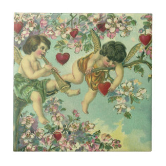 Vintage Valentines Day Victorian Cupids Heart Tree Small Square Tile