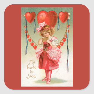 Vintage Valentines Day, Victorian Girl with Hearts Square Sticker