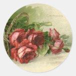 Vintage Valentine's Day, Victorian Red Roses Round Stickers