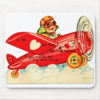Vintage Valentines Kid's Card Airplane Girl Mouse Pad
