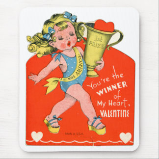 Vintage Valentines Kid's Card Your The Winner Girl Mouse Pad
