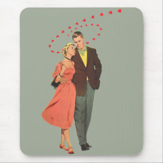 Vintage Valentines Lovers with Floating Hearts Mouse Pad