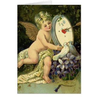 Vintage Valentines,  Victorian Cherub w Love Birds Card