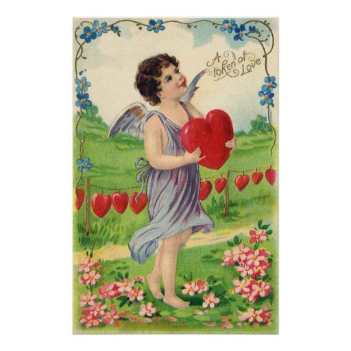 Vintage Valentines Victorian Cupid Holding a Heart Poster