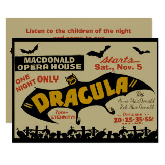 Vintage Vampire Marquee Poster Custom Text Party Card