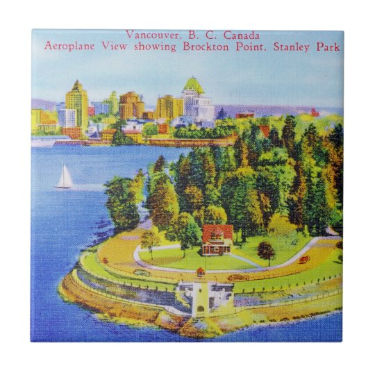 Vintage Vancouver Island Poster Small Square Tile