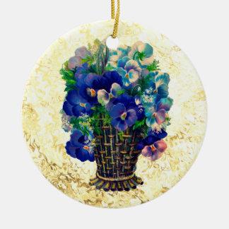 Vintage Vase of Blue Viola Flowers Christmas Ornament