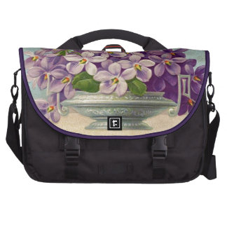 Vintage Vase of Purple Flowers Commuter Bags