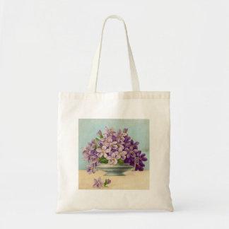 Vintage Vase of Purple Flowers Tote Bags