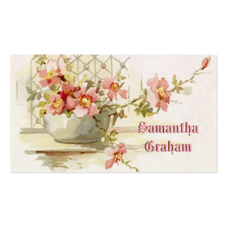 Vintage vase with pink roses watercolor business cards