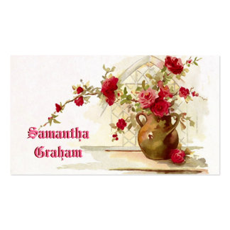 Vintage vase with red roses watercolor pack of standard business cards