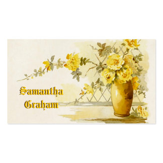 Vintage vase with yellow roses watercolor business cards