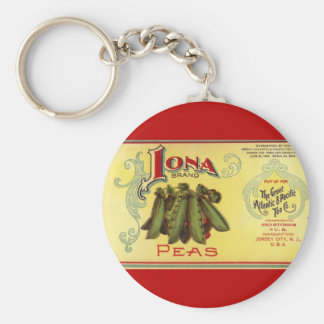 Vintage Vegetable Can Label Art,Iona Brand Peas Key Chains