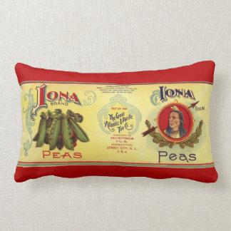 Vintage Vegetable Can Label Art, Iona Brand Peas Lumbar Cushion