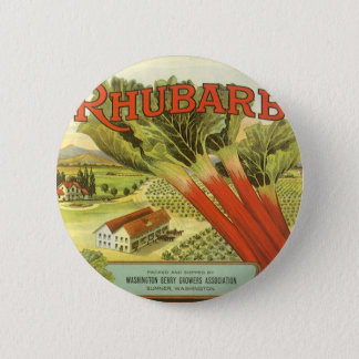 Vintage Vegetable Can Label Art, Rhubarb Farm 6 Cm Round Badge