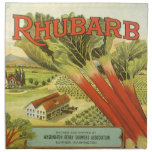 Vintage Vegetable Can Label Art, Rhubarb Farm Cloth Napkins