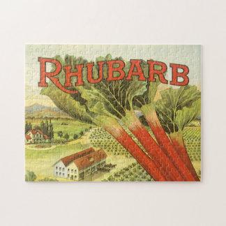 Vintage Vegetable Can Label Art, Rhubarb Farm Jigsaw Puzzle