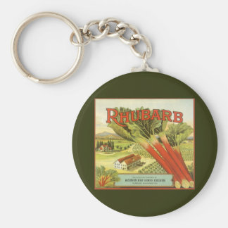 Vintage Vegetable Can Label Art, Rhubarb Farm Key Ring