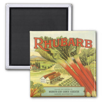 Vintage Vegetable Can Label Art, Rhubarb Farm Square Magnet