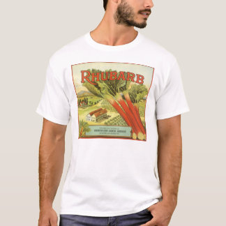 Vintage Vegetable Can Label Art, Rhubarb Farm T-Shirt