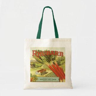 Vintage Vegetable Can Label Art, Rhubarb Farm Tote Bag