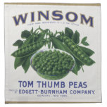 Vintage Vegetable Can Label Art, Winsom Peas Printed Napkin