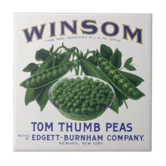 Vintage Vegetable Can Label Art, Winsom Peas Small Square Tile