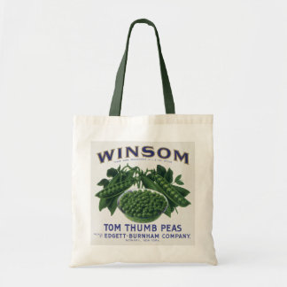Vintage Vegetable Can Label Art, Winsom Peas Tote Bag