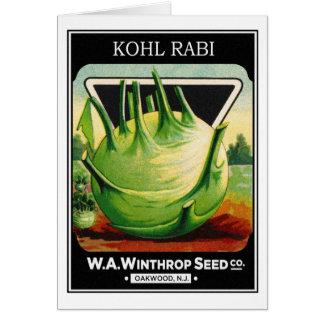 Vintage Vegetable Kohl Rabi Seed Package Greeting Card