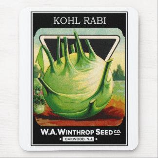 Vintage Vegetable Kohl Rabi Seed Package Mouse Pad