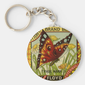 Vintage Vegetable Label Art, Butterfly Brand Beans Basic Round Button Key Ring