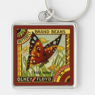 Vintage Vegetable Label Art, Butterfly Brand Beans Silver-Colored Square Key Ring