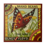 Vintage Vegetable Label Art, Butterfly Brand Beans Tiles