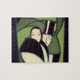 Vintage Vegetable Label, Art Deco Couple, Topper Puzzles