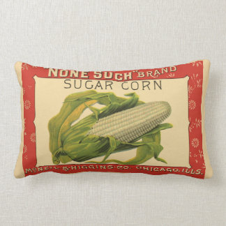 Vintage Vegetable Label Art, None Such Sugar Corn Lumbar Cushion