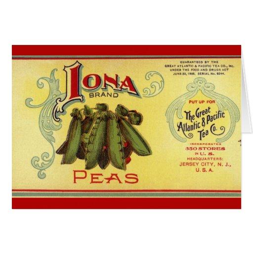 Vintage Vegetable Label for Iona Brand Peas Cards