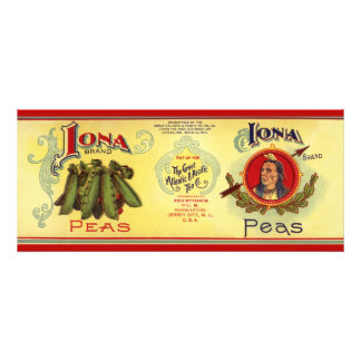 Vintage Vegetable Label for Iona Brand Peas Personalized Invites