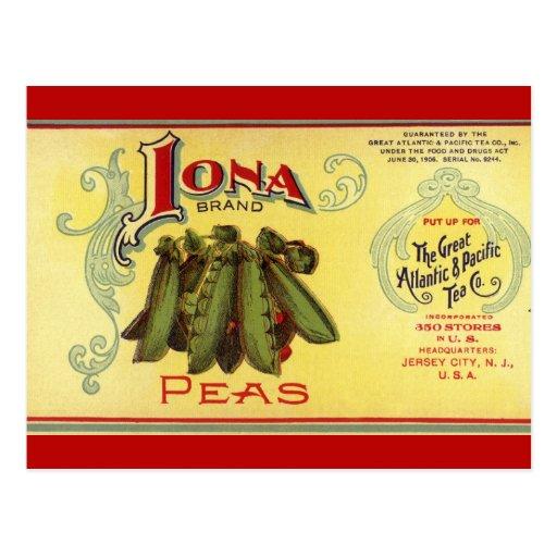 Vintage Vegetable Label for Iona Brand Peas Postcards