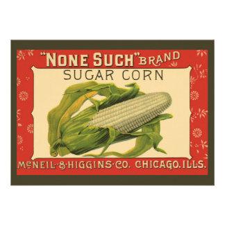 Vintage Vegetable Label None Such Sugar Corn Announcement