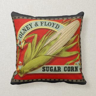 Vintage Vegetable Label, Olney & Floyd Sugar Corn Cushion
