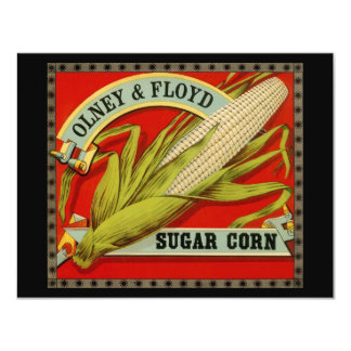 Vintage Vegetable Label; Olney & Floyd Sugar Corn Personalized Invites