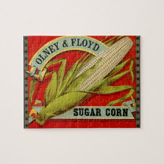 Vintage Vegetable Label, Olney & Floyd Sugar Corn Jigsaw Puzzle