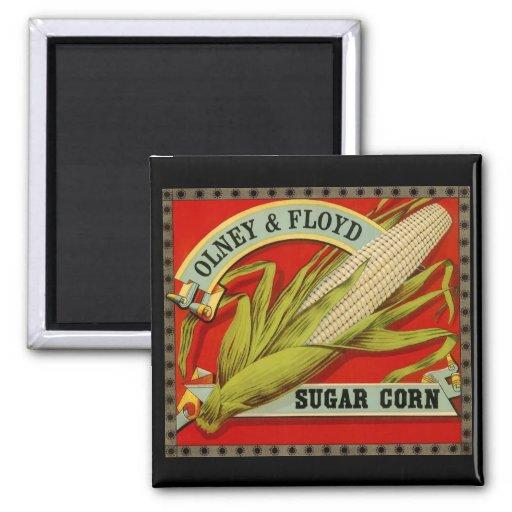 Vintage Vegetable Label; Olney & Floyd Sugar Corn Fridge Magnet