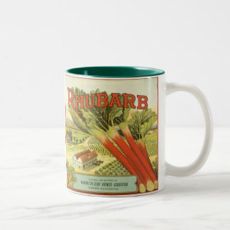 Vintage Vegetable Label, Rhubarb and a Farm Mugs