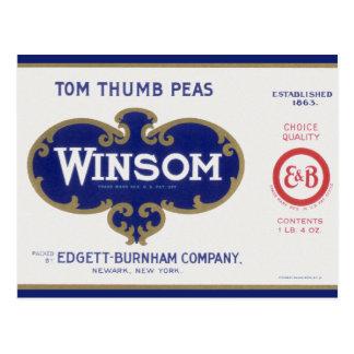 Vintage Vegetable Label Winsom Tom Thumb Peas Post Cards