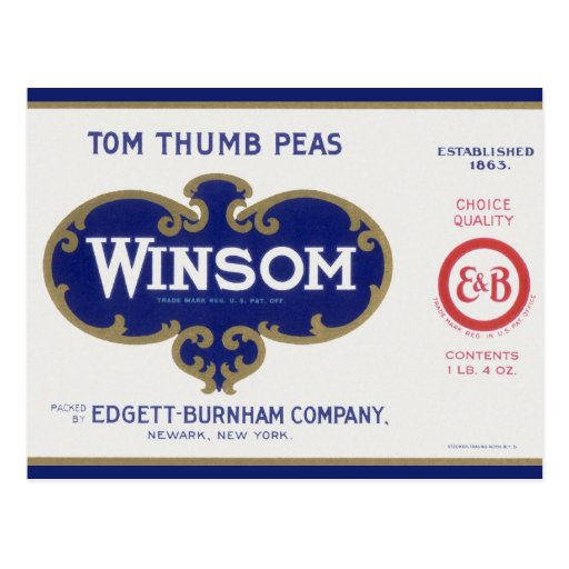 Vintage Vegetable Label; Winsom Tom Thumb Peas Post Cards