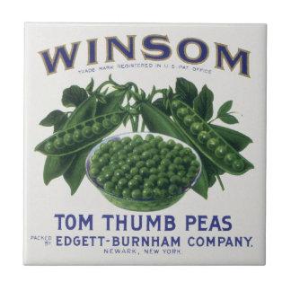 Vintage Vegetable Label; Winsom Tom Thumb Peas Tiles