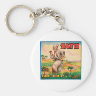 Vintage Vegetables Food Product Label Basic Round Button Key Ring