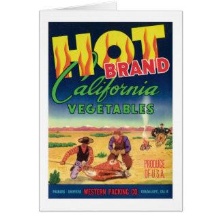Vintage Vegetables Food Product Label Greeting Card